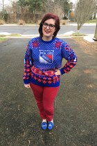 blue New York Rangers sweater - navy Warby Parker glasses - ruby red Loft pants