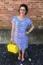 blue Walmart dress - yellow kate spade bag - white Kendra Scott necklace
