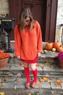 Orange-thrifted-sweater-red-khols-socks-red-thrifted-skirt