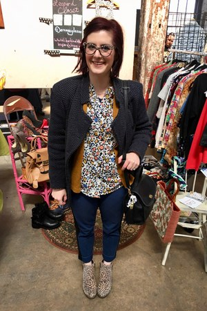 navy thrifted vintage jacket - camel Lucky Brand boots - white Marshalls blouse