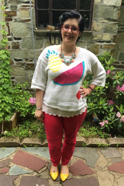 white Anthropologie top - hot pink Gap jeans - white vintage sweater