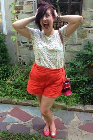 hot pink Rebecca Minkoff bag - orange Anthropologie shorts