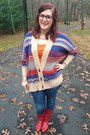 Red-vintage-boots-navy-seven-jeans-navy-gift-cardigan