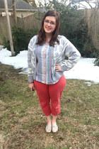 silver vintage sweater - sky blue vintage blouse - light pink kensie glasses