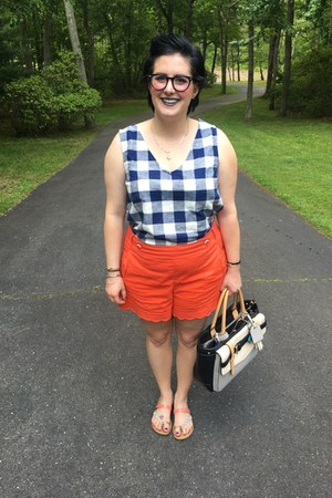 blue Old Navy top - carrot orange Anthropologie shorts