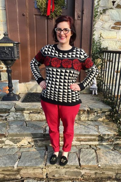 red Loft pants - black Forever 21 sweater - black Faniel glasses