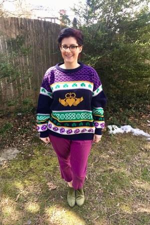 deep purple vintage sweater - green Old Navy boots - magenta Old Navy pants
