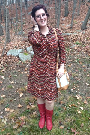 red thrifted boots - brick red thrifted dress - white Adam Lippes for Target bag