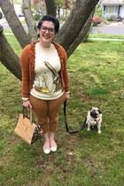burnt orange talbots cardigan - off white modcloth sweater