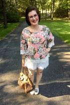 white Walmart shorts - brown Louis Vuitton bag - white Kendra Scott necklace