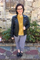 mustard madewell top - black Forever 21 jacket - light brown Zyloware glasses