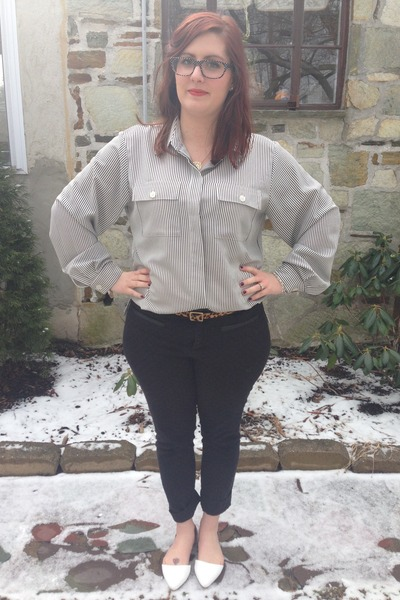 black zenni optical glasses - light brown Gap belt - white second hand blouse