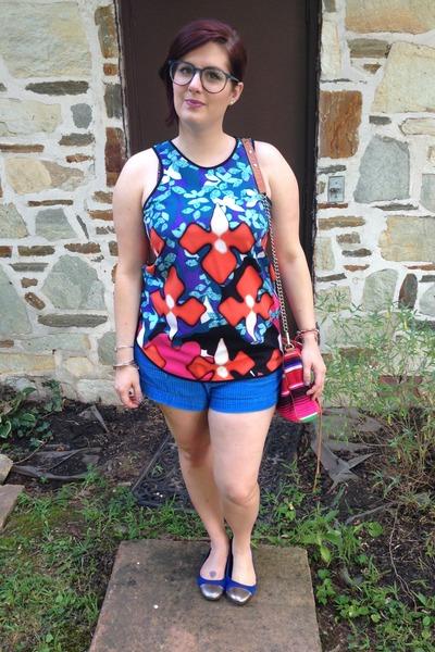 navy Target flats - hot pink Rebecca Minkoff bag - navy Walmart shorts