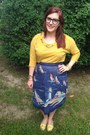 Navy-warby-parker-glasses-mustard-madewell-blouse-navy-vintage-skirt
