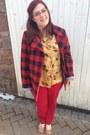 Red-loft-jeans-maroon-jcrew-jacket-mustard-vintage-blouse