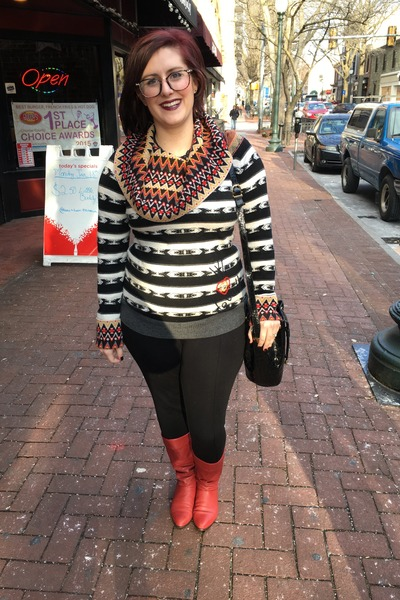 black desigual sweater - red vintage boots - black Walmart leggings