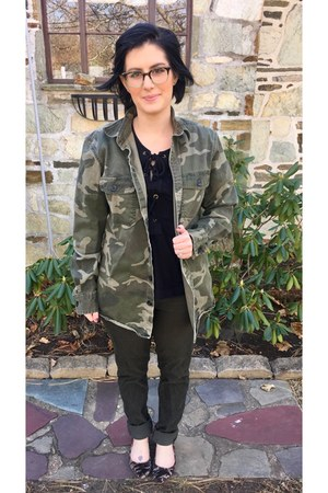army green Old Navy jacket - black Who What Wear  Target top