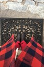 Black-walmart-boots-maroon-jcrew-jacket-eggshell-second-hand-sweater