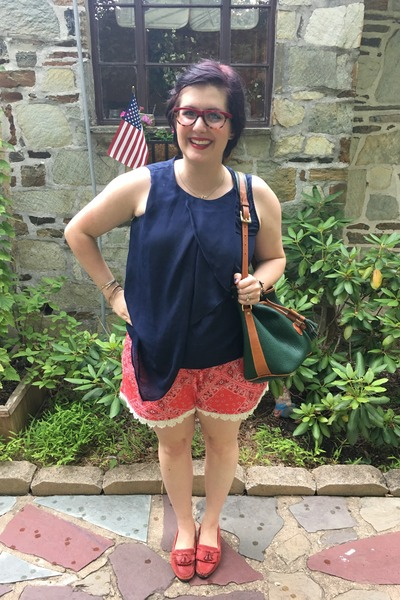 red Walmart shorts - army green Dooney & Bourke bag