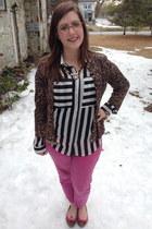 brown cosco cardigan - hot pink Gap jeans - black Plndr blouse