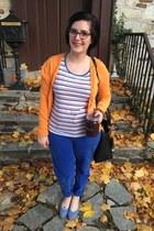 orange H&M cardigan - purple BonLook glasses - white second hand top