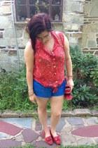 red Forever 21 top - hot pink Rebecca Minkoff bag - blue Walmart shorts