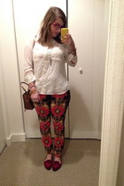 ruby red Target pants - brown Rebecca Minkoff bag - white Target top
