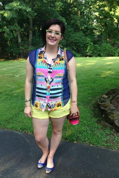 blue mara hoffman blouse - hot pink Rebecca Minkoff bag
