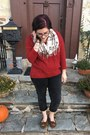 Gray-levis-jeans-ruby-red-old-navy-sweater-white-van-heusen-scarf