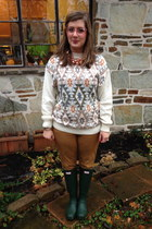 white vintage sweater - green Hunter boots - light pink Coastal glasses
