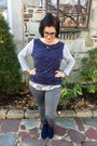 Blue-jcpenney-boots-silver-old-navy-top-navy-gap-top