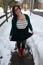 ruby red vintage boots - black kohls sweater - dark green Target sweater