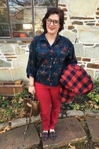 red Loft pants - brick red Jcrew jacket - white Kendra Scott necklace