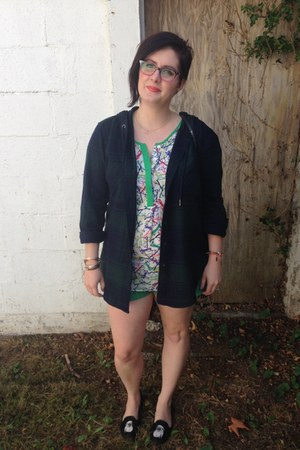 green rip curl shorts - forest green garage jacket - white banana republic top