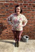pink Gap jeans - army green Target boots - off white vintage sweater