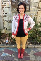 red zenni glasses - red vintage boots - white thrifted cardigan