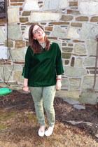 brown proopticals glasses - lime green Gap pants - dark green vintage blouse