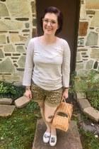 nude kate spade bag - dark khaki Anthropologie shorts - white Jcrew top