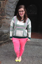 white romwe sweater - navy BonLook glasses - hot pink H&M pants