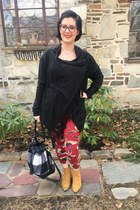 red firmoo glasses - mustard Amazon boots - black Whoa Wait Walmart sweater
