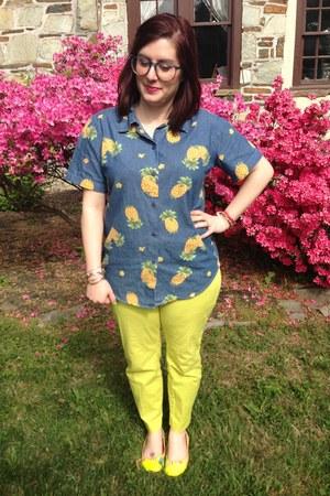 blue vintage blouse - chartreuse Gap pants - sky blue firmoo glasses