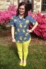 Sky-blue-firmoo-glasses-blue-vintage-blouse-chartreuse-gap-pants