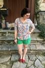Green-rip-curl-shorts-navy-glasseslit-glasses-ivory-anthropologie-blouse