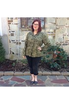 gray Levis jeans - olive green chicos blouse - brown firmoo glasses