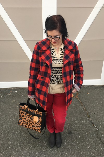 eggshell second hand sweater - black Walmart boots - maroon JCrew jacket