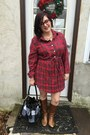 Brown-steve-madden-boots-ruby-red-handmade-dress