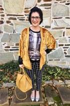 black zenni glasses - mustard k lab  Kohls cardigan
