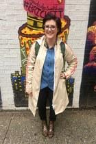 brown LLBean boots - eggshell Hunter x Target jacket - green Hunter x Target bag