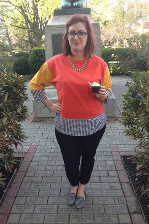 black Anthropologie jeans - gold Jcrew necklace - carrot orange vintage top