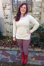 Ruby-red-vintage-boots-ivory-toms-for-target-sweater-gold-baublebar-necklace